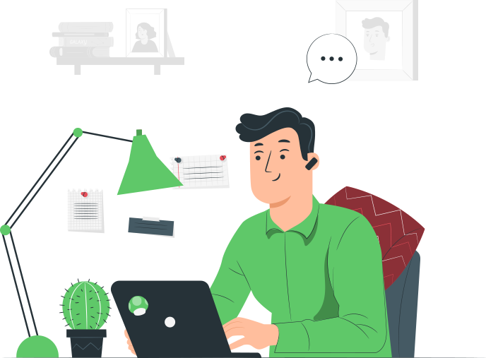 Illustrated man wearing a green shirt working on a laptop