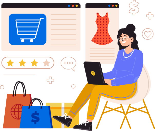 Illustrated woman excited to shop online