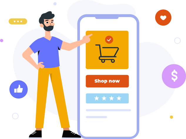 Illustrated man pointing at a e-commerce store on a mobile phone