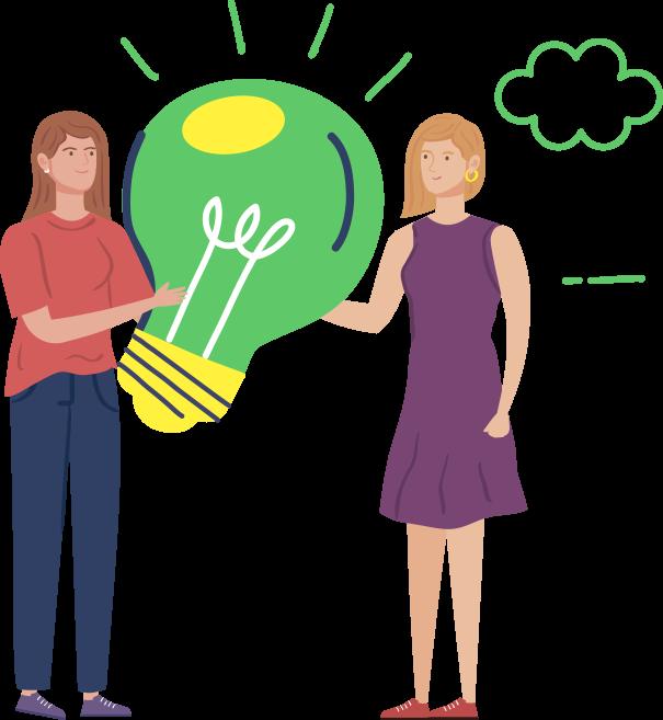 Illustrated women holding a large lightbulb